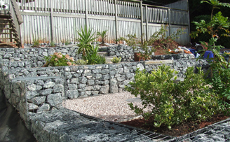 Rays terraced garden using gabions